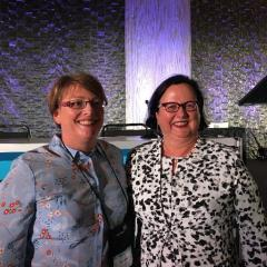 Dr Leanne Sakzewski (L) and Prof. Roslyn Boyd (R) at the AACPDM